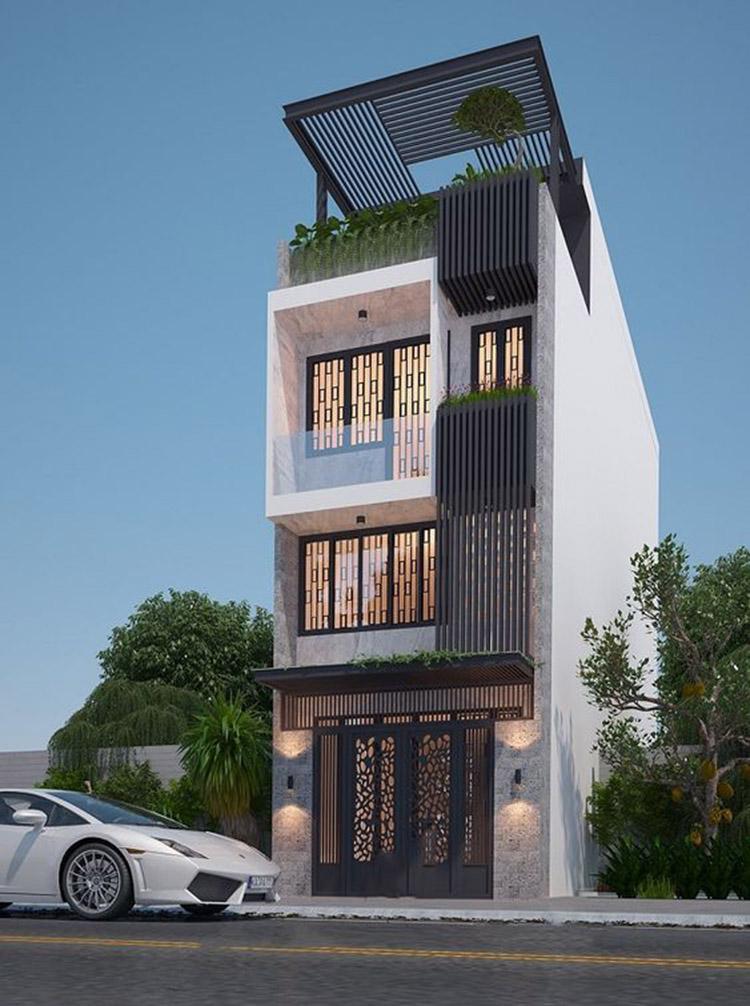 Thiết kế nhà phố hiện đại hướng tây