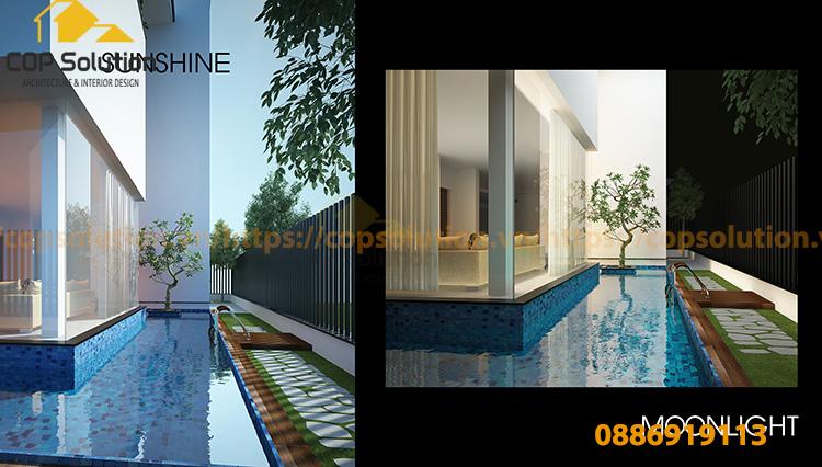 bể bơi xung quanh nhà