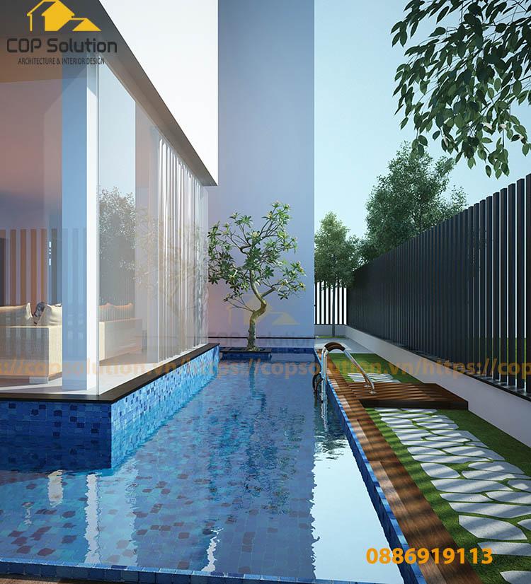 biệt thự bể bơi nhỏ hẹp