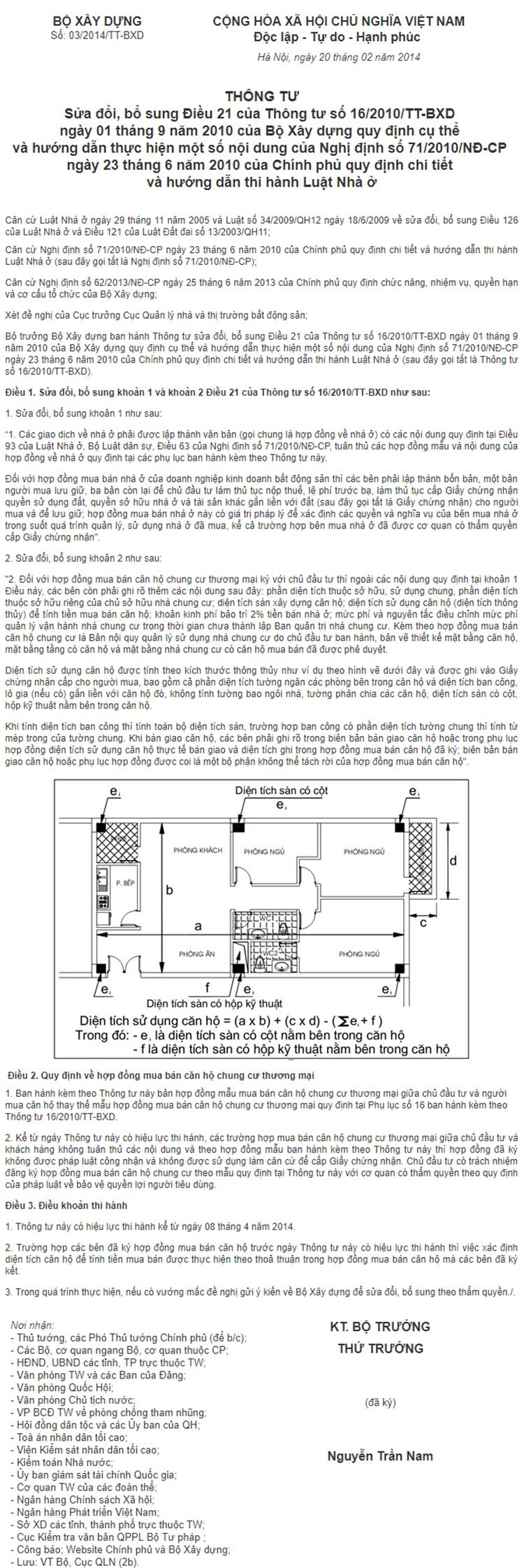 tt của bộ xây dựng về đo chung cư