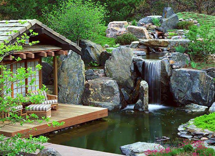 khu vườn thiên có thác nước